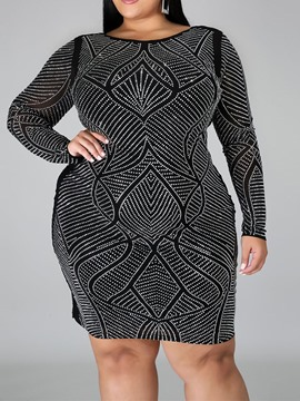 Ericdress Plus Size Rhinestone Round Neck Long Sleeve Fall Pullover Dress