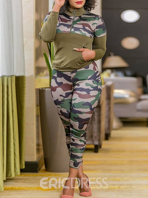Ericdress Print Camouflage Sports V-Neck Pullover Two Piece Sets