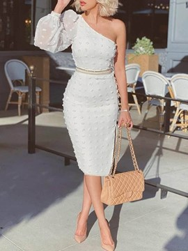 Ericdress Asymmetric Nine Points Sleeve Oblique Collar Bodycon One-Shoulder Dress