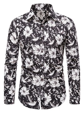 Ericdress Floral Lapel Print Single-Breasted Slim Shirt