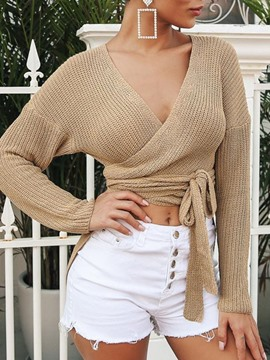 Ericdress Lace-Up Thin Regular Long Sleeve V-Neck Sweater
