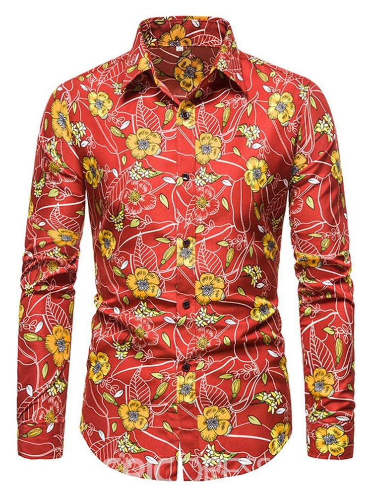 Ericdress Floral Casual Lapel Slim Fall Shirt