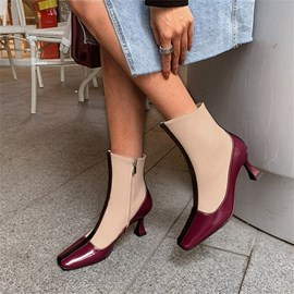 Ericdress Side Zipper Horse-Shoe Heel Patchwork Thread Boots