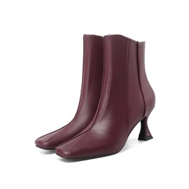 Ericdress Horse-Shoe Heel Square Toe Side Zipper Short Floss Boots