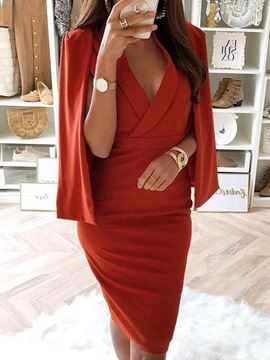 Ericdress V-Neck Long Sleeve Pleated Pullover High Waist Dress