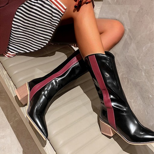 Ericdress Patchwork Slip-On Pointed Toe Short Floss Boots