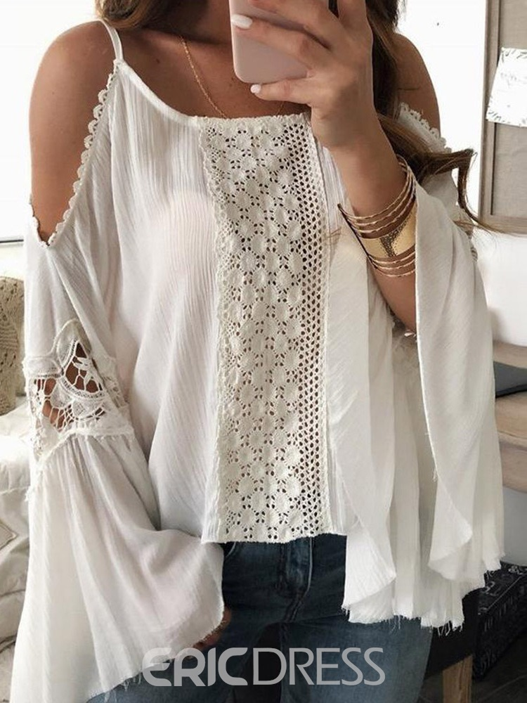Ericdress Lace Plain Flare Sleeve Standard Long Sleeve Blouse