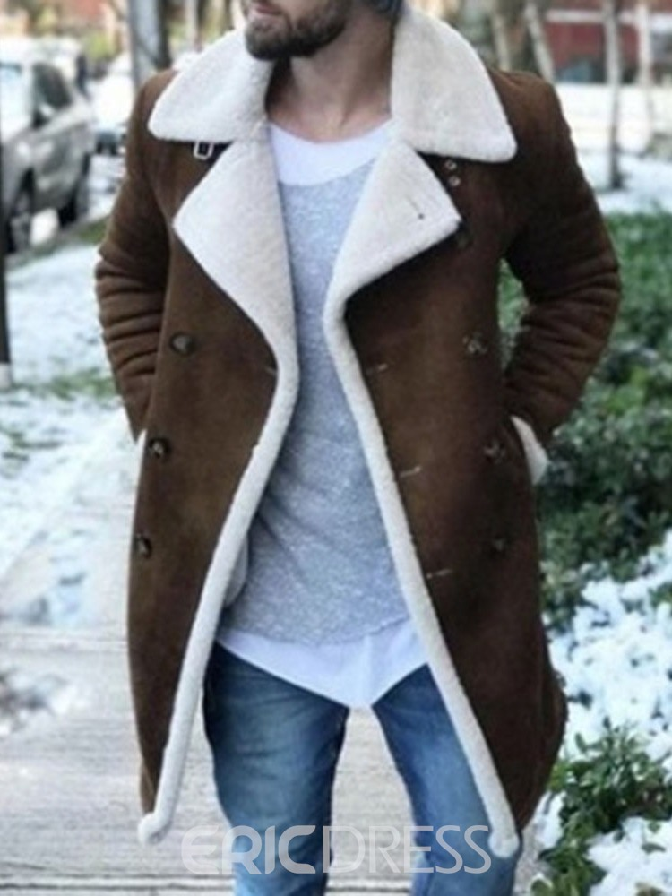 Ericdress Patchwork Mid-Length Straight Double-Breasted Coat