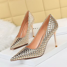 Ericdress Stiletto Heel Slip-On Pointed Toe Low-Cut Upper Thin Shoes