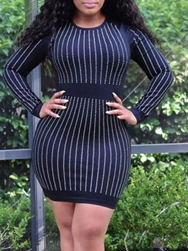 Ericdress Above Knee Rhinestone Long Sleeve Stripe Regular Dress