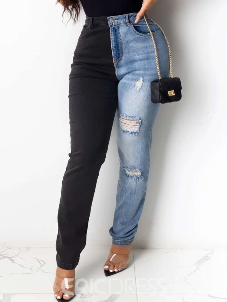 Ericdress Color Block Pencil Pants Washable Skinny Zipper Jeans