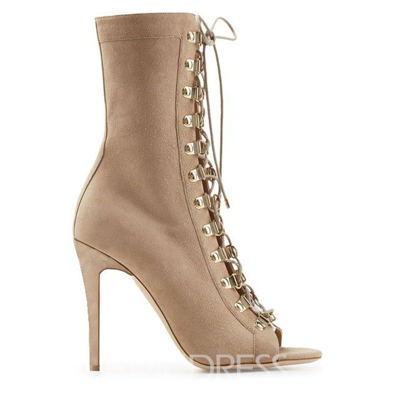 Ericdress Side Zipper Stiletto Heel Plain Western Boots