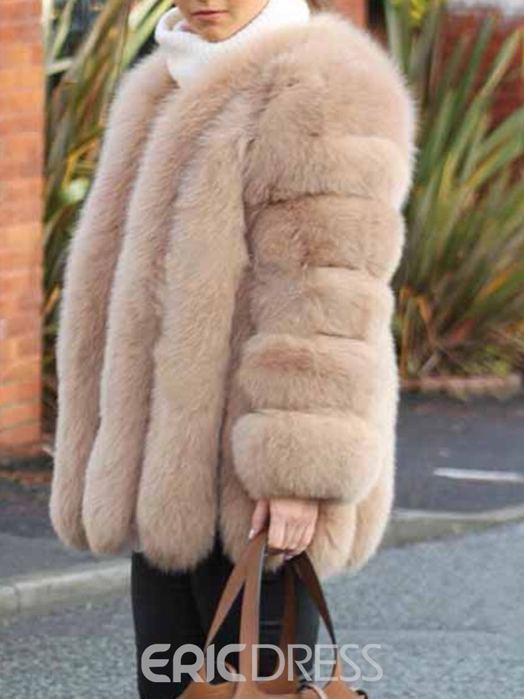 Ericdress Plain Mid-Length Thick Straight Faux Fur Overcoat