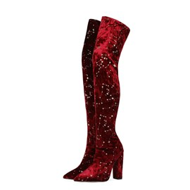 Ericdress Slip-On Chunky Heel Plain Sequin Boots
