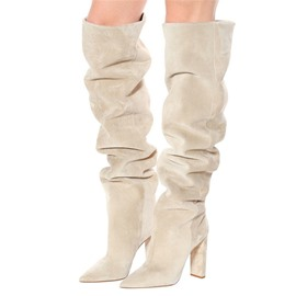 Ericdress Plain Slip-On Chunky Heel Short Floss Boots