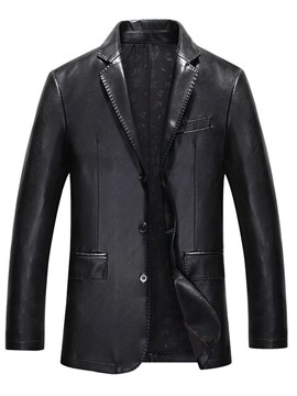 Ericdress Notched Lapel Plain Standard OL Fall Leather Jacket