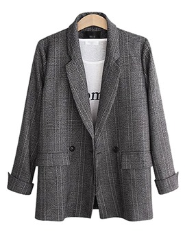 Ericdress Long Sleeve Lapel Plaid Regular Mid-Length Casual Blazer