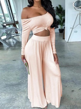 Ericdress Sexy Plain Pants Pullover Straight Two Piece Sets