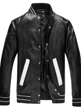 Ericdress Standard Color Block Stand Collar European Slim Leather Jacket