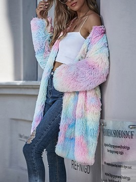Ericdress Tie-Dye Slim Long Cotton Padded Jacket