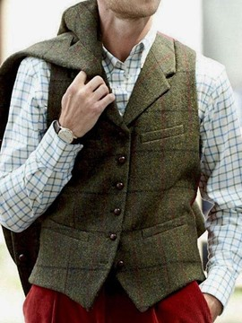 Ericdress Plaid Notched Lapel Fall Single-Breasted Waistcoat