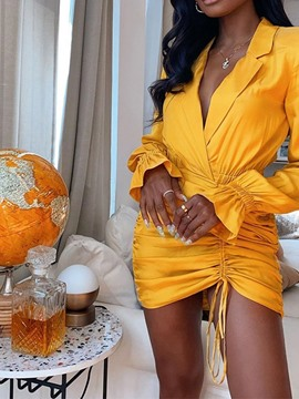 Ericdress Lace-Up Above Knee Long Sleeve Plain Pullover Dress