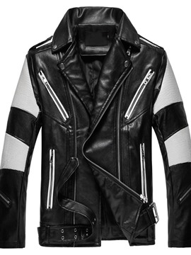 Ericdress Lapel Standard Slim Zipper Leather Jacket