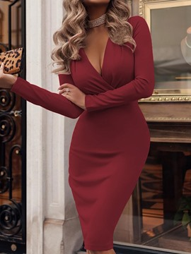 Ericdress V-Neck Long Sleeve Mid-Calf High Waist Elegant Dress
