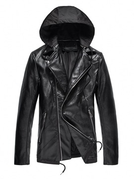 Ericdress Plain Lapel Standard European Fall Leather Jacket
