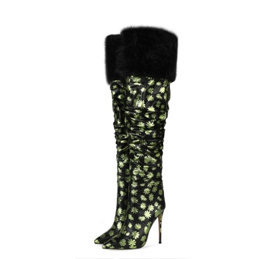 Ericdress Stiletto Heel Pointed Toe Floral Print Boots
