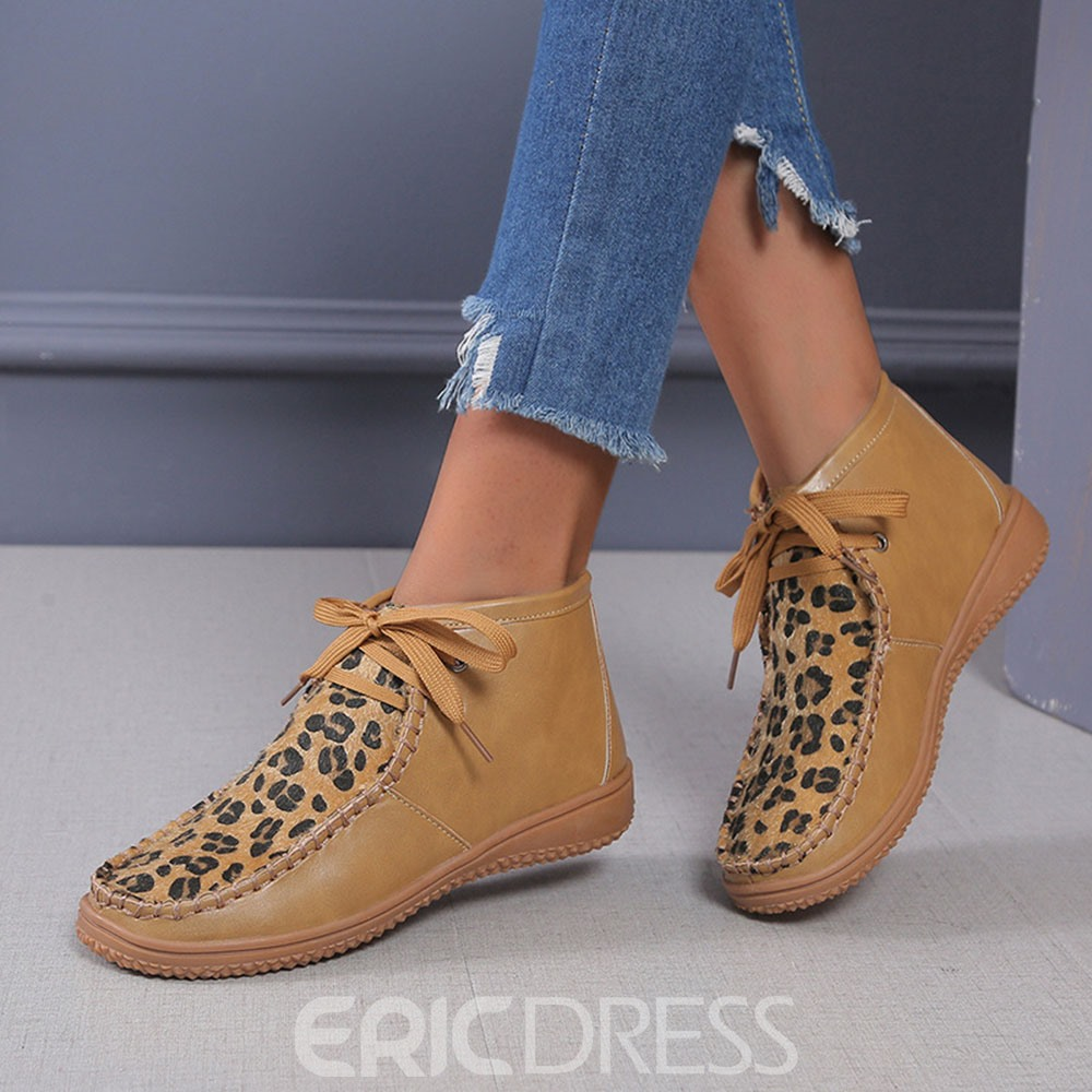 Ericdress Lace-Up Front Flat With Round Toe Cross Strap Boots