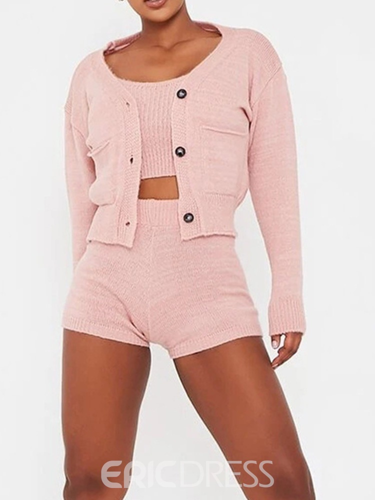 Ericdress Plain Button Fashion Straight Single-Breasted Two Piece Sets