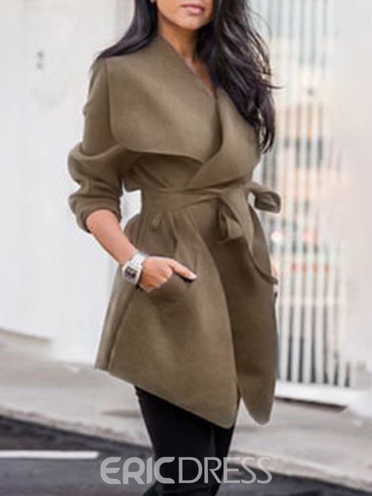 Ericdress Patchwork Hooded Lace-Up Western Fall Trench Coat