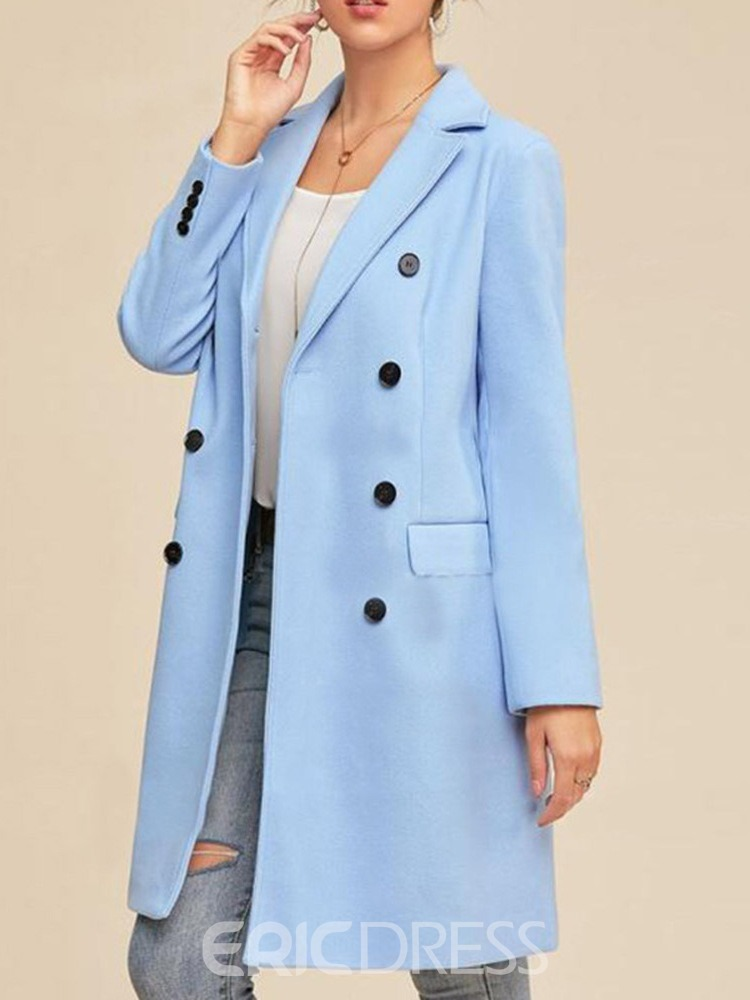 Ericdress Double-Breasted Patchwork Regular Fall Lapel Overcoat