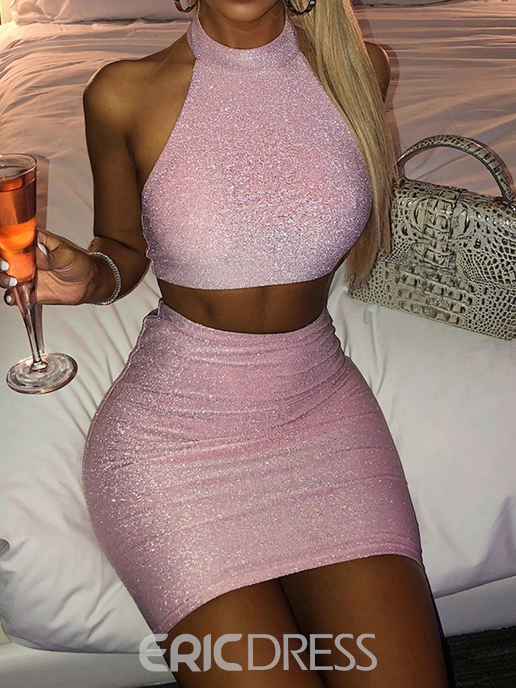 Ericdress Plain Vest Sexy Pullover Bodycon Two Piece Sets