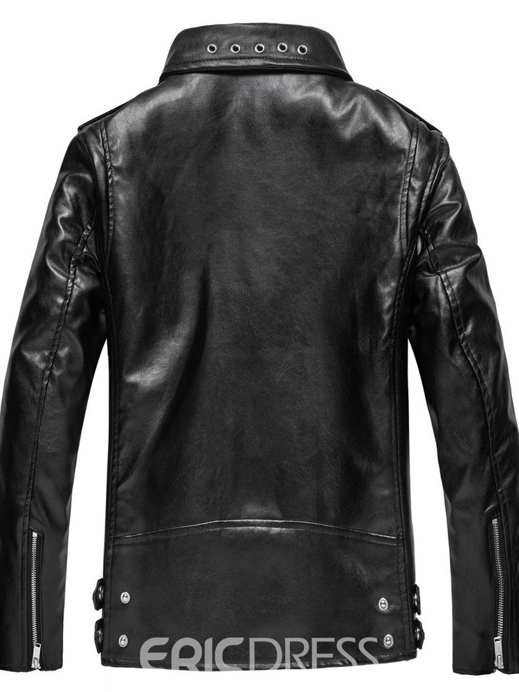 Ericdress Standard Lapel Plain European Winter Leather Jacket
