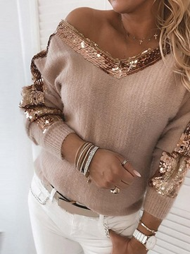 Ericdress Sequins Thin Regular Loose V-Neck Sweater