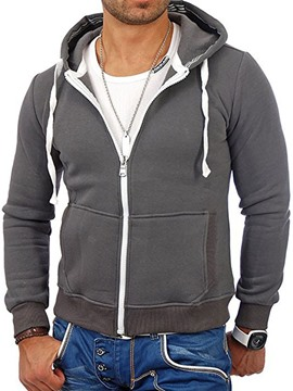 Ericdress Pocket Pullover Plain Casual Zipper Hoodies