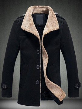 Ericdress Button Stand Collar Plain Single-Breasted Winter Jacket