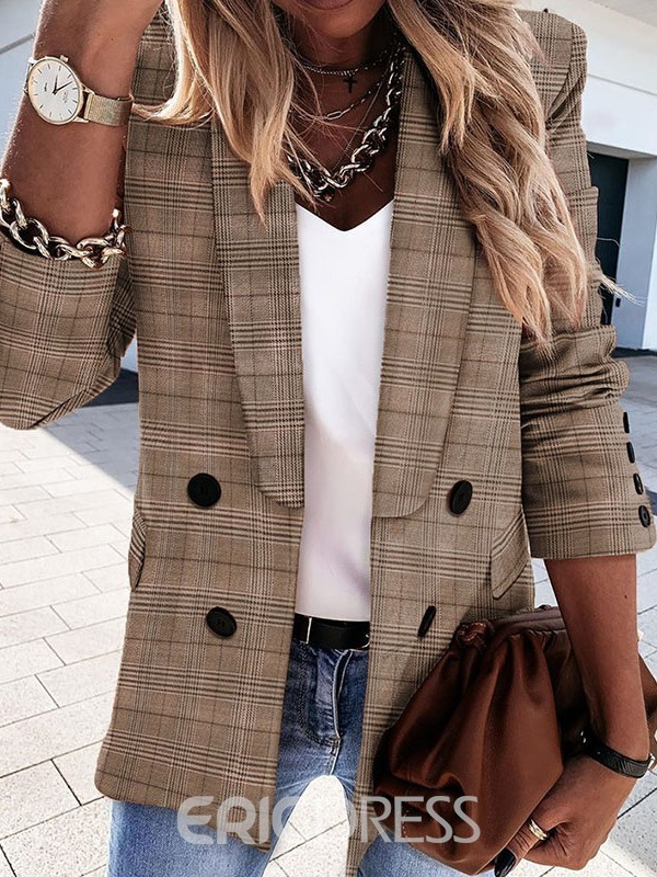 Ericdress Double-Breasted Plaid Long Sleeve Mid-Length Fall Casual Blazer