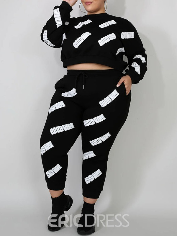 Ericdress Plus Size Letter Print Fashion Round Neck Pullover Two Piece Sets