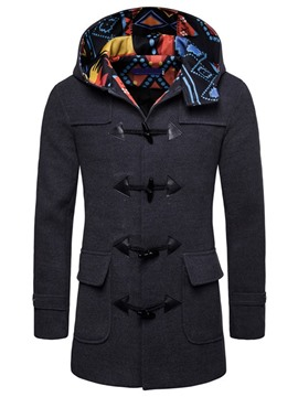 ericdress manteau de boutons en corne européenne mi-long patchwork color block
