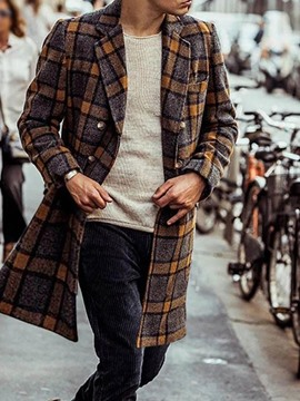 Ericdress Mid-Length Notched Lapel Plaid Slim Double-Breasted Coat