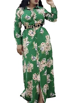Ericdress Long Sleeve Belt Lapel Spring Floral Dress