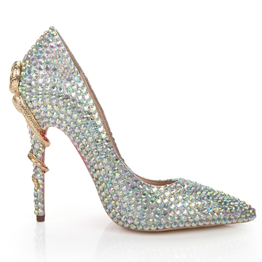 Ericdress Pointed Toe Rhinestone Stiletto Heel Low-Cut Upper Thin Shoes