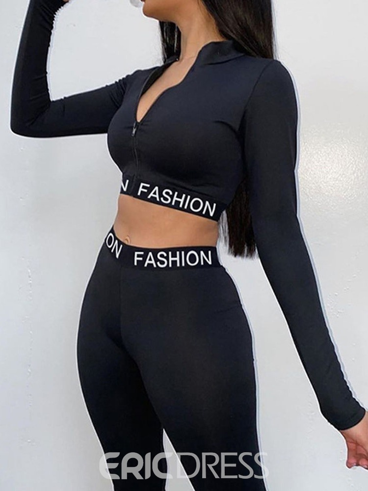 Ericdress Breathable Polyester Print Letter Running Full Length Clothing Sets