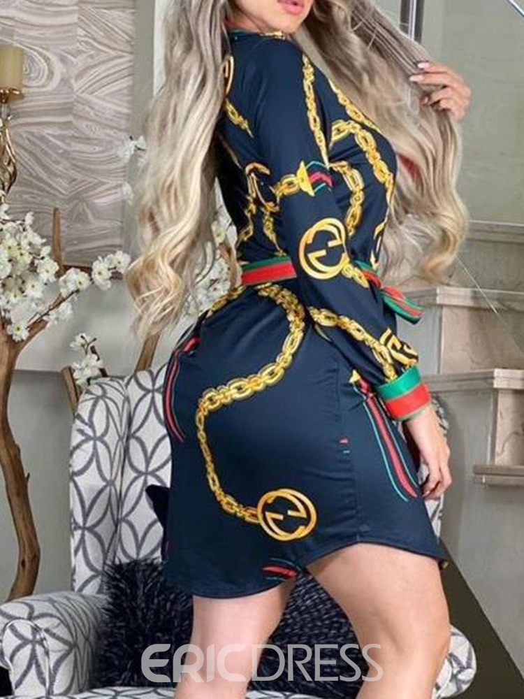 Ericdress Lace-Up Long Sleeve Above Knee Summer Fashion Dress