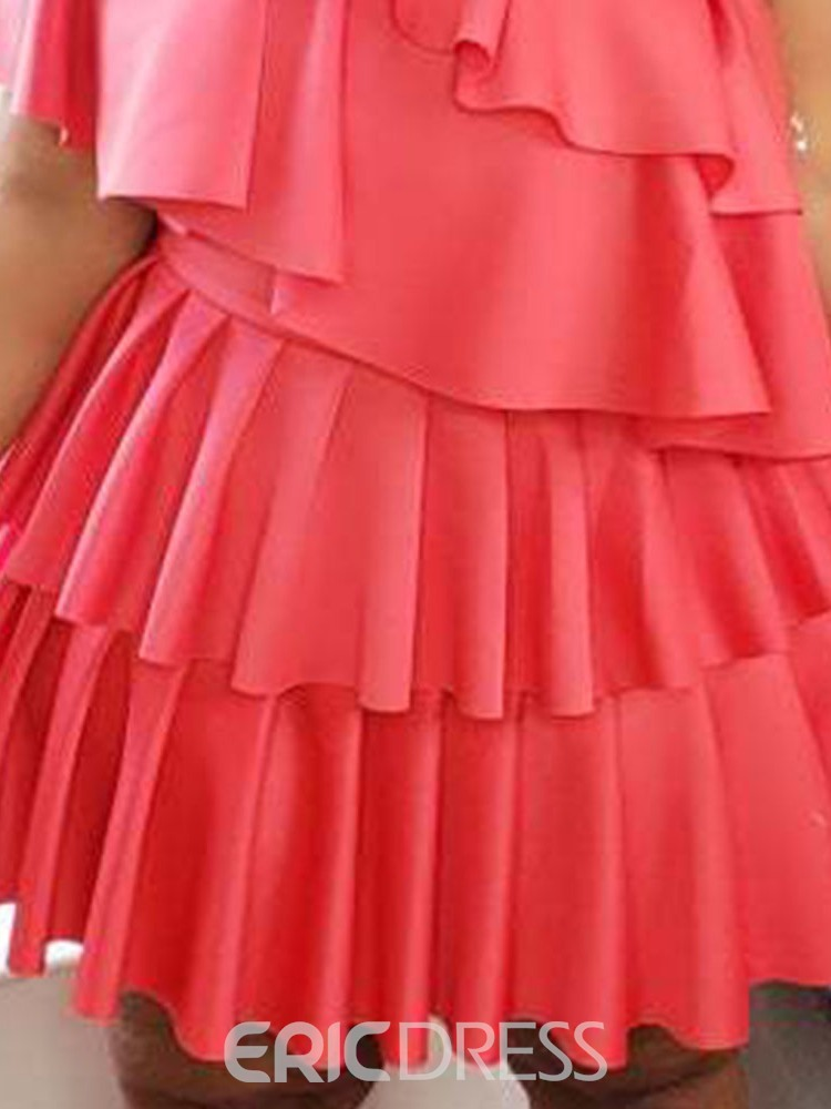 Ericdress Pleated Above Knee Short Sleeve Summer Mid Waist Dress