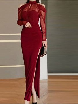 Ericdress Long Sleeve Patchwork Floor-Length Mid Waist Pencil Dress