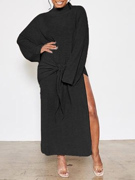 Ericdress Long Sleeve Turtleneck Split Plain Pullover Dress